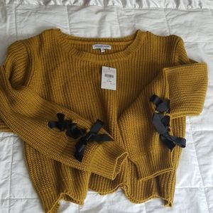 waffle knit crop top sweater